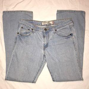 Levi's acid-washed Superlow Bootcut Denim Jeans.